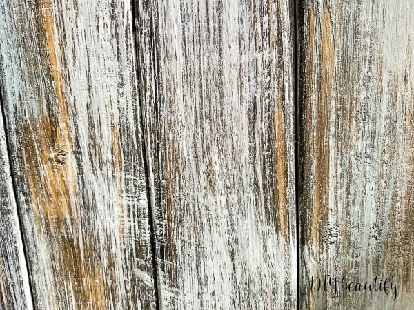 close up of stain and chalk paint layers