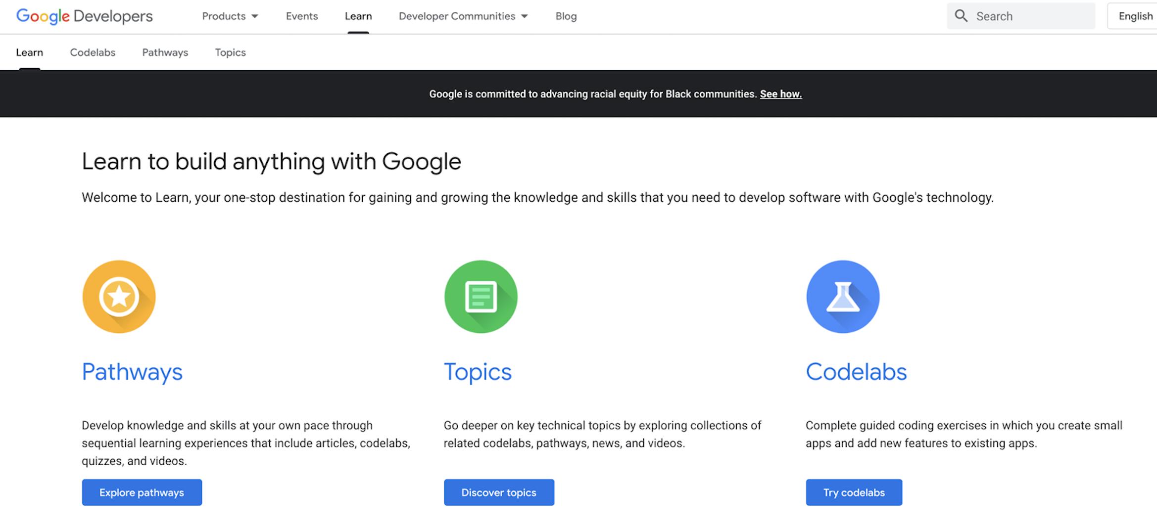 Google Developers learning page image