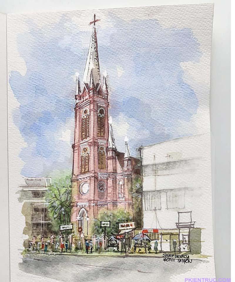 bản vẻ phác thảo nhà thờ Tân Định