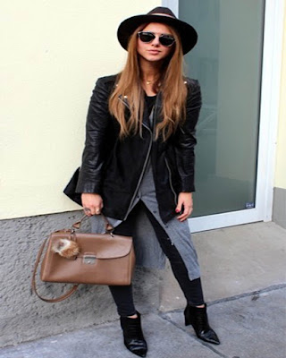 outfit de invierno con sombrero plano negro