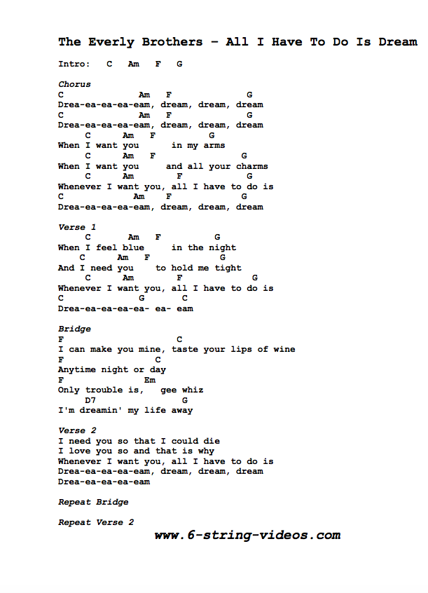 Guitar Tabs Lyrics And Chords For All I Have To Do Is Dream By The Everly Brothers