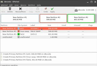 Partisi Linux di Hard Disk Virtual Box Selesai