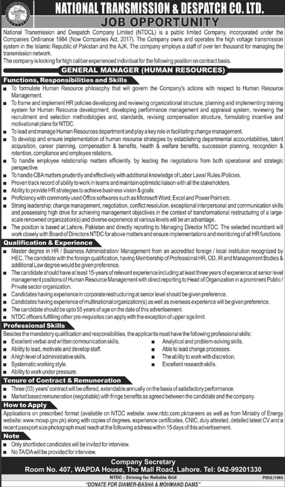 NTDC Wapda Jobs 2020 National Transmission & Despatch Co. Ltd