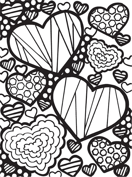 Free printable abstract adult coloring pages for Abstract heart coloring pages