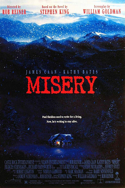 Movie poster for Columbia Pictures and Castle Rock Entertainment's 1990 Oscar-winning film Misery, starring James Caan, Kathy Bates, Lauren Bacall, Richard Farnsworth, Frances Sternhagen, and Graham Jarvis