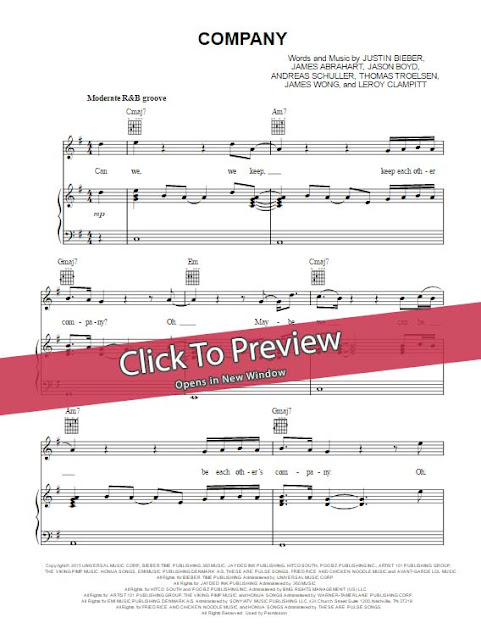 justin bieber, company, sheet music, chords, score, lesson, tutorial, cover, klavier noten, partitiion, how to play, learn