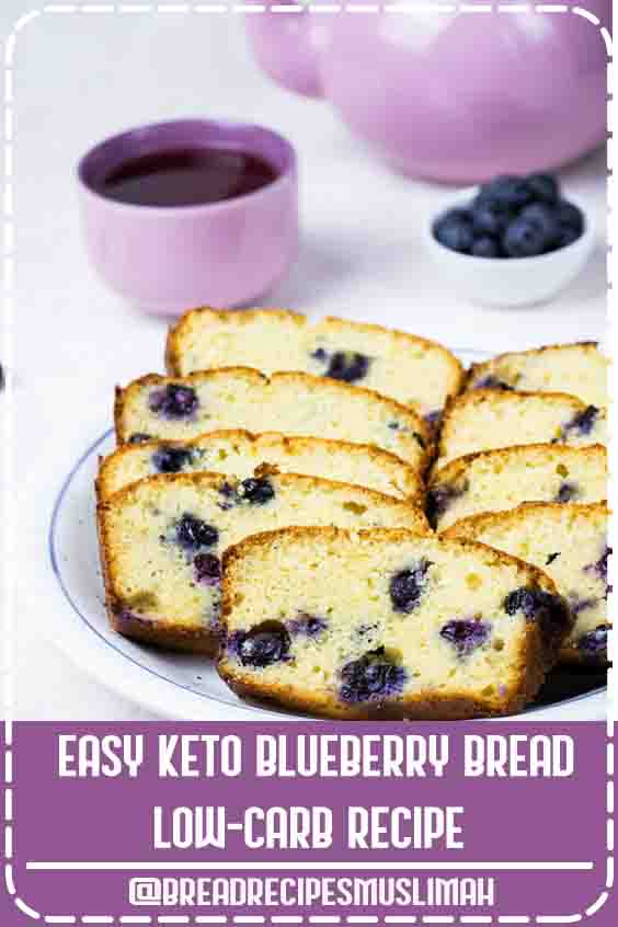 This Keto Blueberry Bread is a low carb bread, perfect as a great breakfast or for a quick snack in between meals. This fantastic blueberry bread is gluten-free, grain-free and also sugar-free. #Fruit #Bread #Recipes #loaf #pan