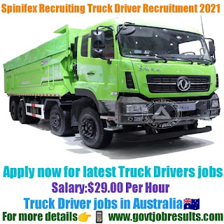 Spinifex Recruiting Truck Driver Recruitment 2021-22