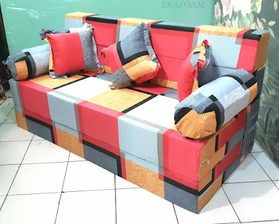 Sofa bed inoac motif minimalis cavali orange