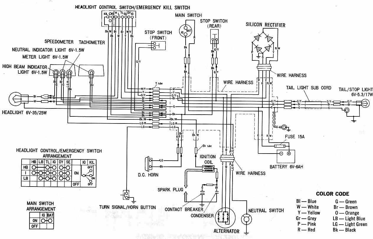 Honda+XL100+Motorcycle+Complete+Wiring+Diagram honda xl100 motorcycle complete wiring diagram all about wiring honda wire harness color code at fashall.co