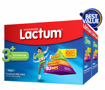 Lactum 3+ Plain Powdered Milk Drink 3.2kg Twin Pack