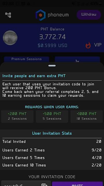 Đào token PHT(phoneum) miễn phí,cách kiếm 10.000 Token Pht/tháng