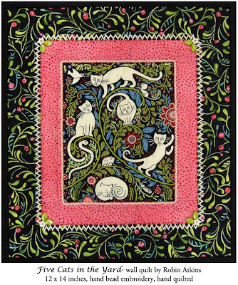 Robin Atkins, beaded quilt, Five Cats in the Yard