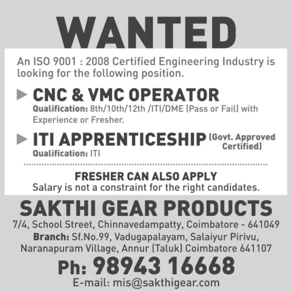 Job Openings in Sakthi Gear Products/ CNC VMC Operators / ITI ...