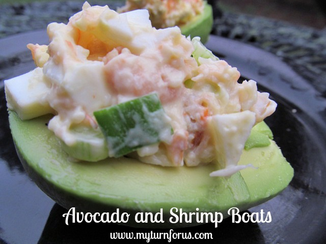 Shrimp salad recipe in an Avocado half for a great appetizer