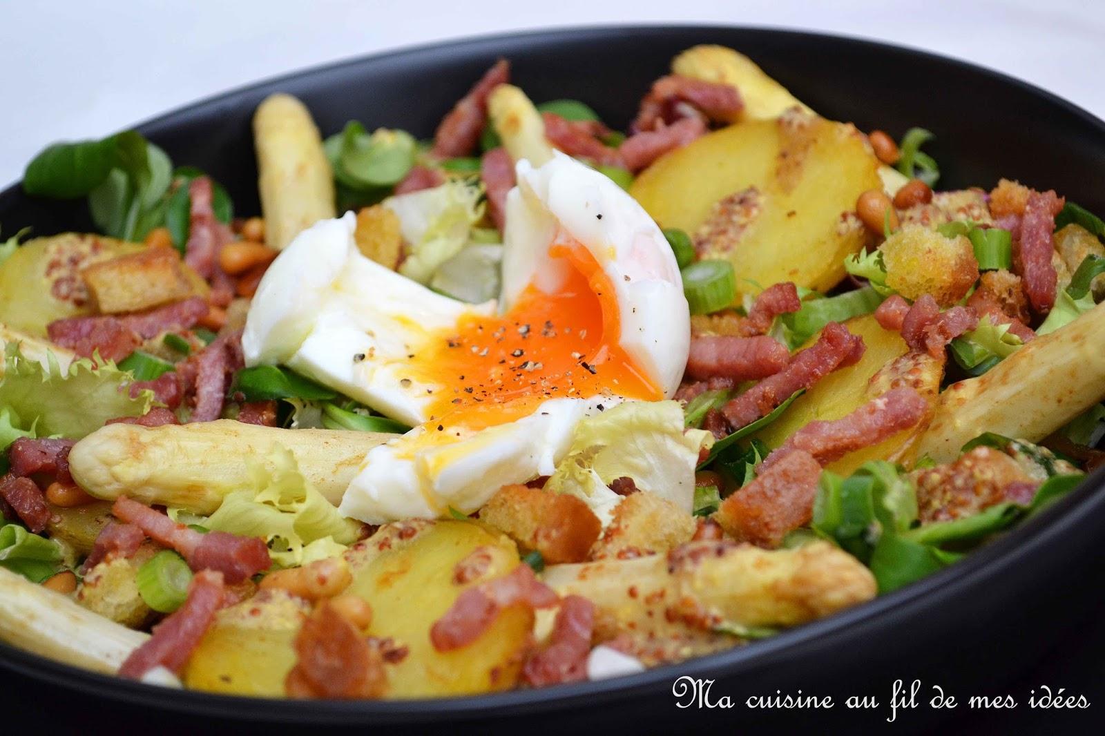 Ma cuisine au fil de mes id es salade ti de aux pommes de terre asperges lardons et oeuf - Asperge a la poele ...