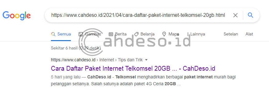 Mengetik URL Artikel Baru di Google Search