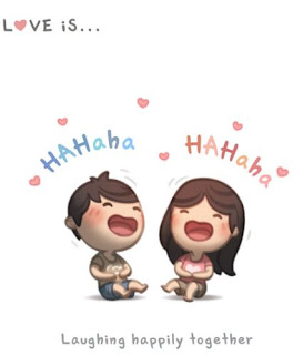 Love is laughing happily together