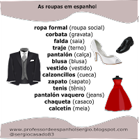 As roupas em espanhol, dicas de espanhol, aprender espanhol, língua espanhola, curso de espanhol