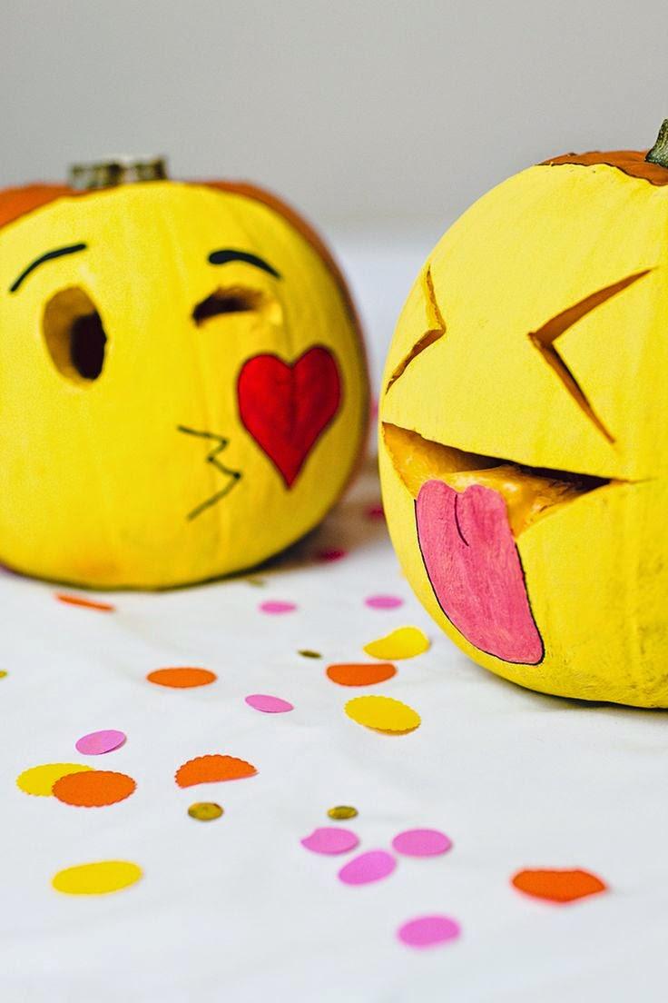 Emoji Party Ideas; emoji pumpkins