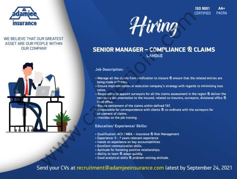 Adamjee Life Insurance Company Limited Jobs September 2021
