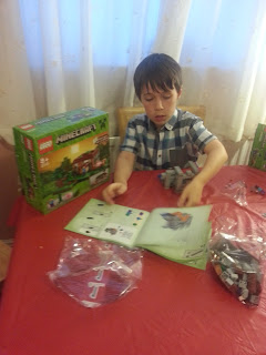 Boy Building Lego Minecraft