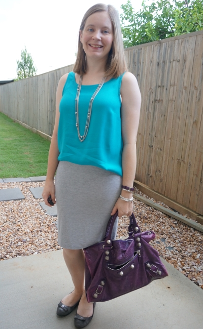 Jeanswest Vickie button back tank in enamel blue with Atmos&Here jersey pencil skirt purple Balenciaga work bag | awayfromblue