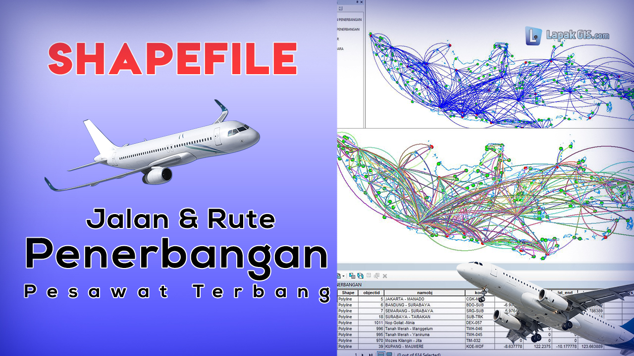 Data Shapefile Jalur (Rute) Penerbangan Indonesia