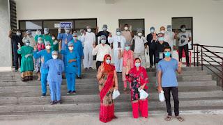 मेडिकल कॉलेज हॉस्पिटल से शुक्रवार को 3 मरीज स्वस्थ होकर घर पहुंचे