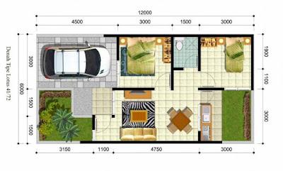 Mendesain Denah Rumah Minimalis 1 Lantai Ukuran 6x12