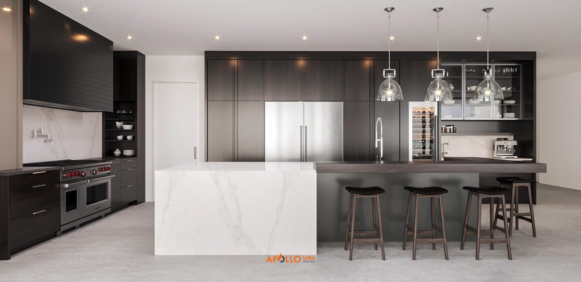 Thiết kế phòng bếp có bàn Bar biệt thự nhà vườn tại Hưng Yên