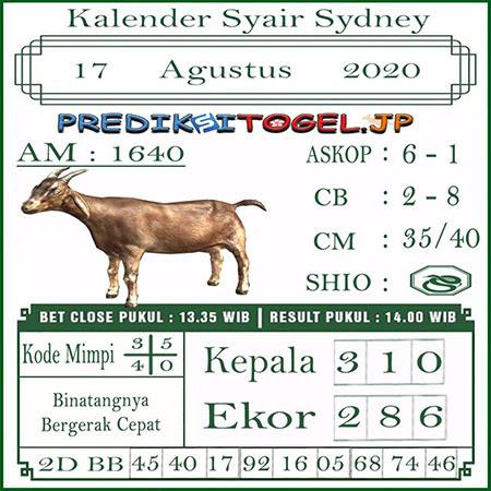 Kalender Prediksi Sidney Senin 17 Agustus 2020