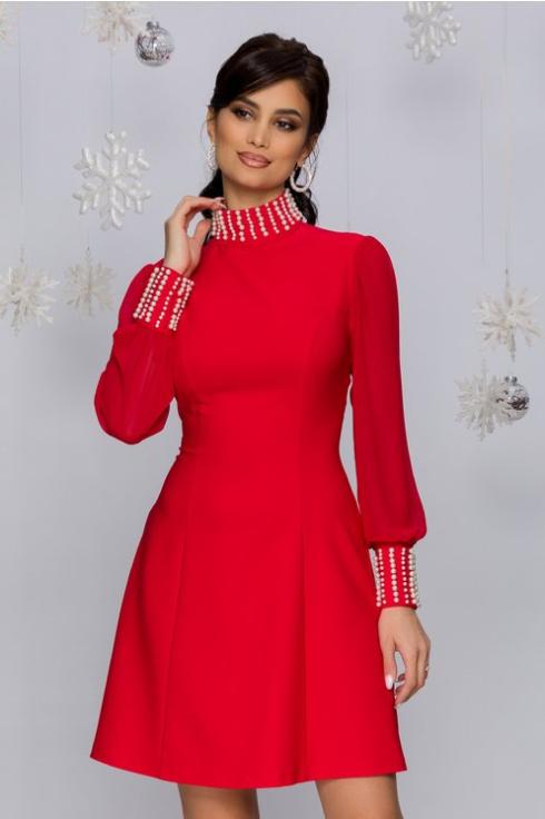 Rochie scurta de ocazii rosie cu perle la guler si mansete foarte eleganta