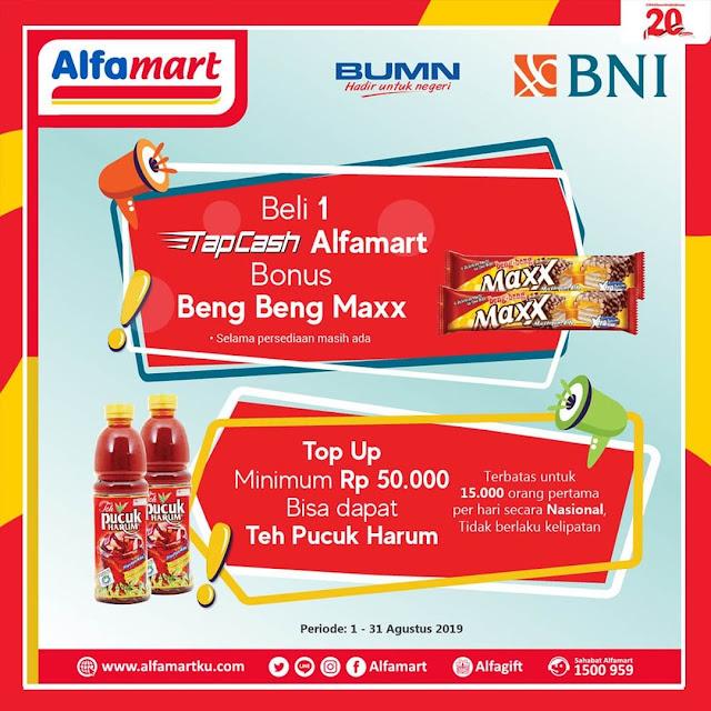 #Alfamart - #Promo Beli TapCash Bonus Beng Beng & Topup Min 50K Gratis Minuman (s.d 31 Agustus 2019)