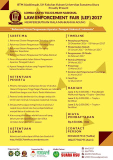 Lomba Karya Tulis Ilmiah - Law Enforcement Fair FH Univ. Sumut
