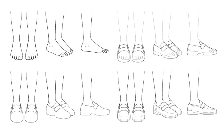 Sepatu sekolah anime menggambar selangkah demi selangkah