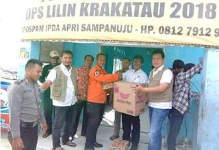 Penyerahan bantuan untuk korban bencana alam Tsunami di Lampung Selatan
