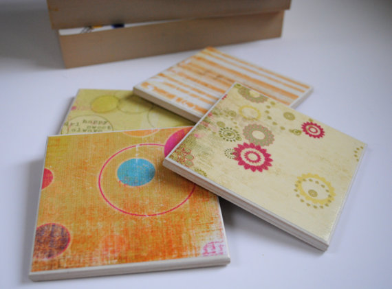 Set of 4 Handmade Yellow & Orange Tile Coasters. Avaialble on my Etsy Store pulltheotherthread