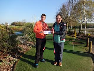 Richard Gottfried and Peter Jones celebrating their big minigolf win at Clays Golf Centre in Wrexham