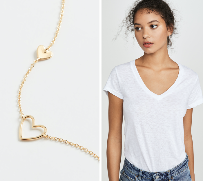 gorjana heart necklace, v-neck white tee style blogger pick
