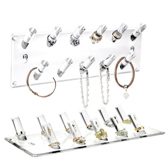 A tabletop jewelry display stand for rings.