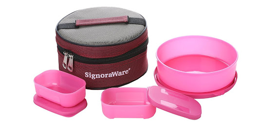 Amazon – Buy Signoraware Classic Lunch Box Set with Bag, Pink at Rs. 243