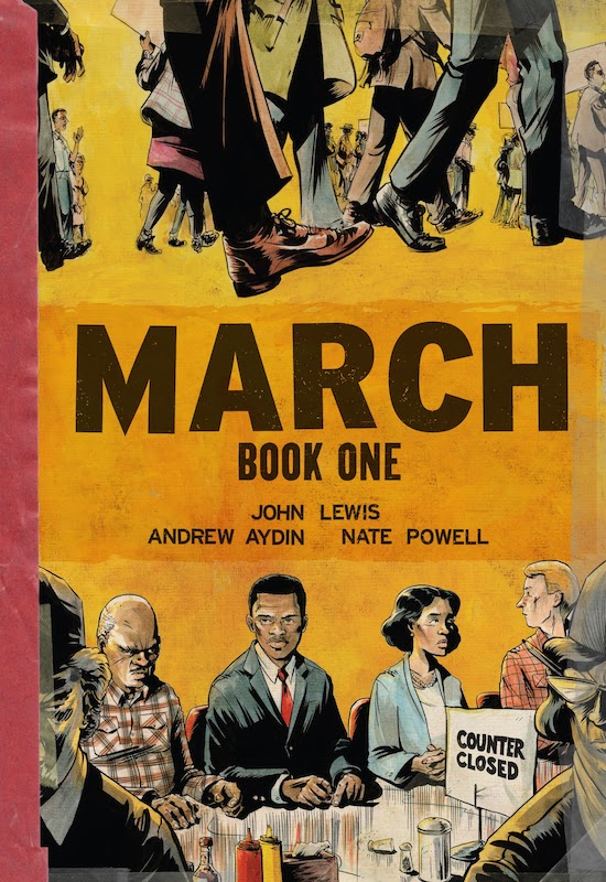 Title; protesters with signs; John Lewis and others at a lunch counter