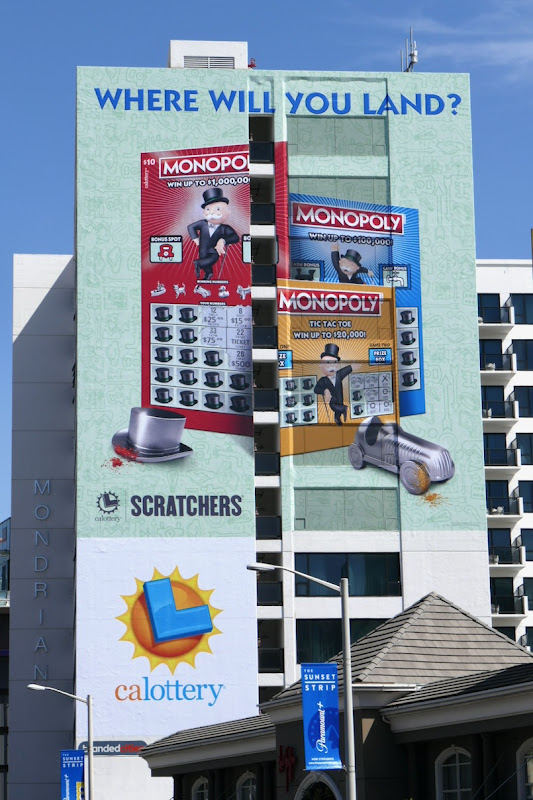 Where will you land Monopoly Lottery Scratchers billboard