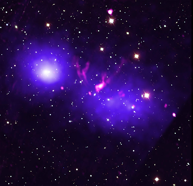 Galaxy clusters caught in first kiss