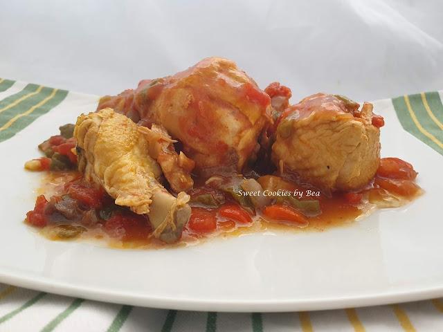 Pollo al chilindrón el olla lenta