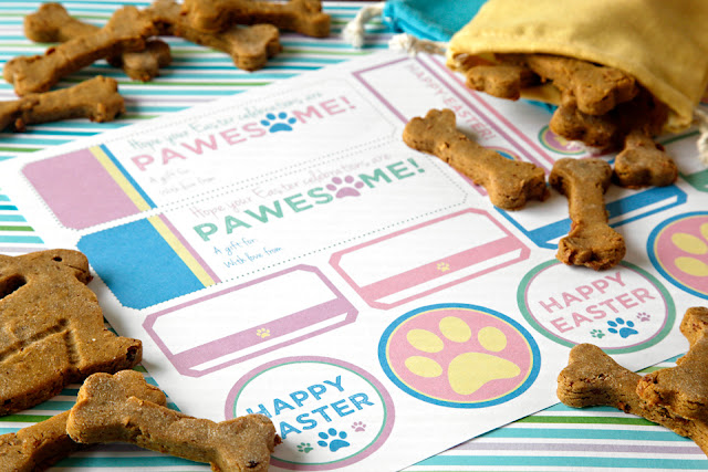 Pastel coloured dog treat labels with bunny and bone shaped dog treats