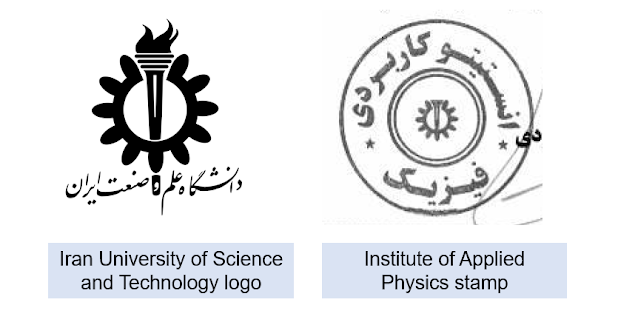 The Institute of Applied Physics or IAP's stamp, which we saw on the contract with Islamic Azad University IAU, even has a version of the Iran University of Science and Technology (IUST) torch-and-cog logo on it