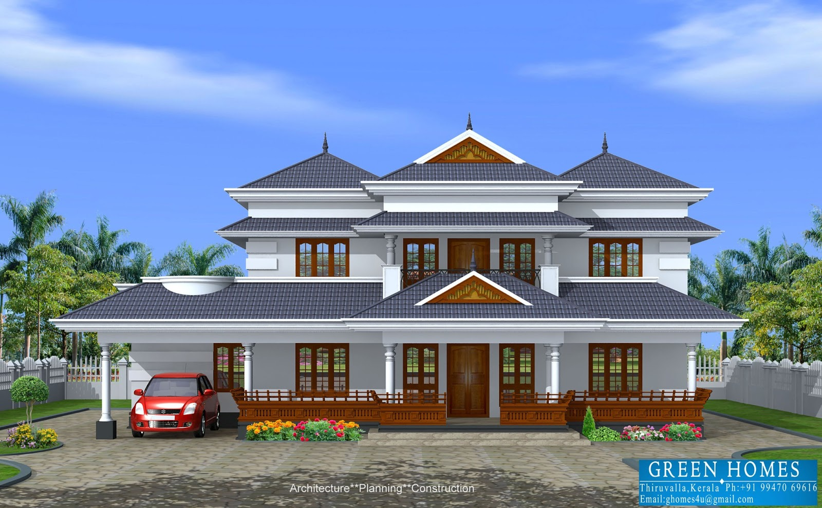 Green homes traditional style kerala home in 3450 sq ft for Green home builders