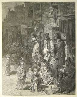 A detailed engraving of people huddled on a street.